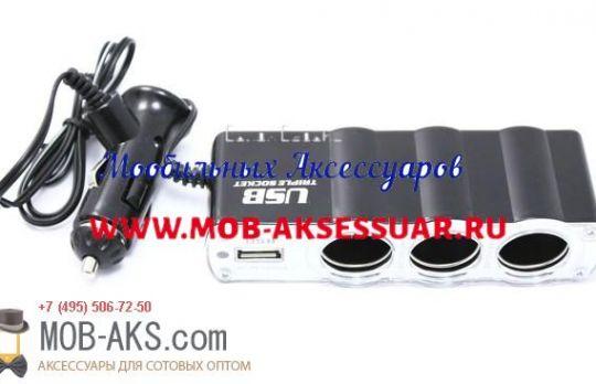 Разветвитель прикуривателя на 3 гнезда С USB со шнуром WF-0120 оптом